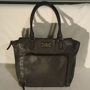 Kate Spade charcoal grey leather shopper tote